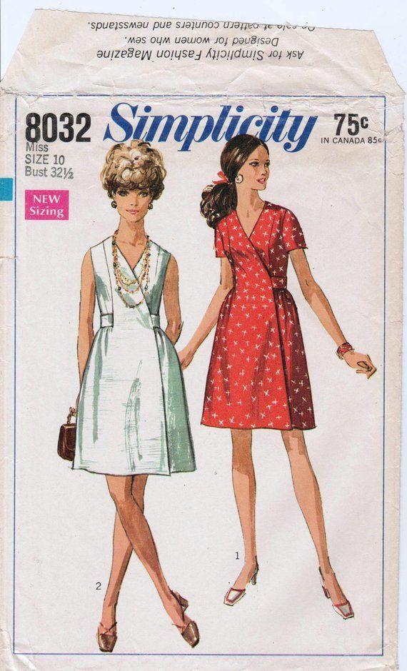 1b6553602a4d Vintage Wrap Dress Pattern 1960s Dress Pattern SIMPLICITY 8032 bust 32.5