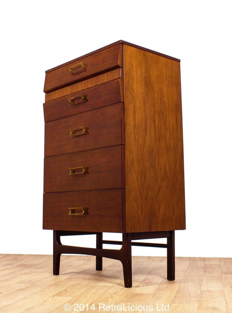Meredew High Gloss Dark Walnut Tallboy Chest Of Drawers  Danish Design