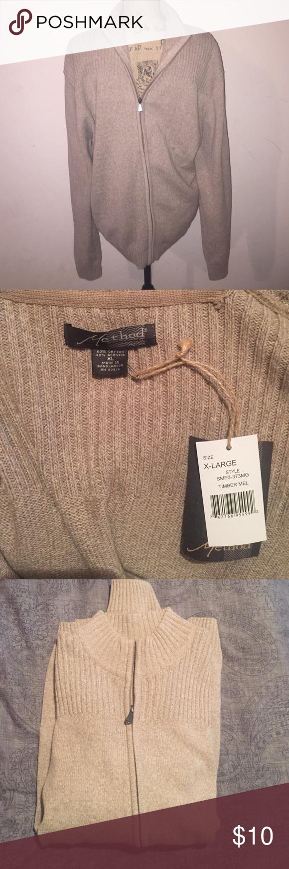 NWT beige/ cream color zip up XL Mens cardigan. NWT XL Mens zip up cardigan sweater. Sweaters Cardigan