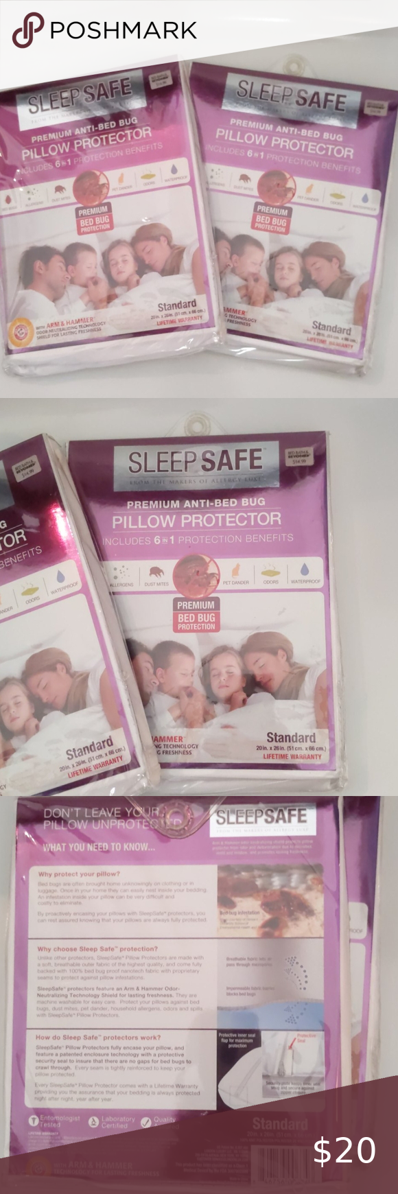 Sleep Safe Pillow Protectors 2 Standard in 2020 Pillow