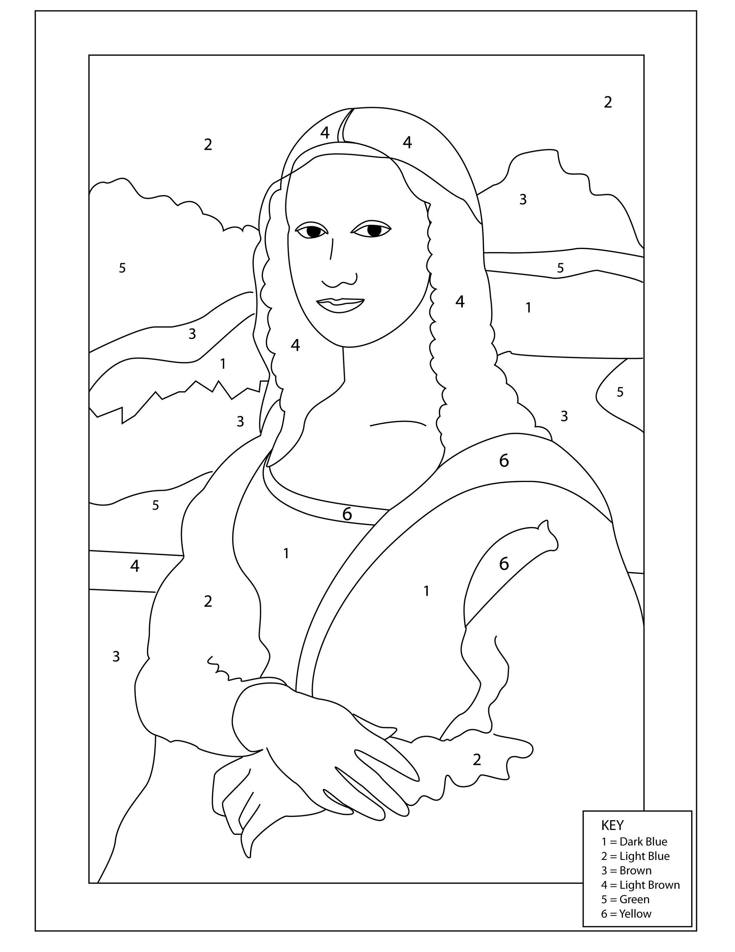 Pagina Da Colorare Di Mona Lisa Stampabile Fogli Di Lavoro K5 Lezioni Di Arte Color By Numbers Arte Di Bambino