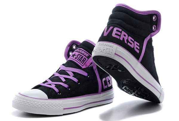 8a0ff1d6af34 Black Converse Vampire Diaries Purple Serif Padded Collar Chuck Taylor All  Star High Tops Winter Cotton Boots