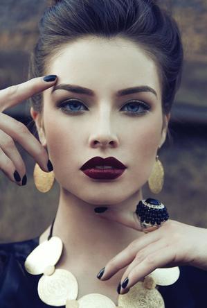Purple lips, beautiful make up and classic beauty... Bold Lips on Bloom.com