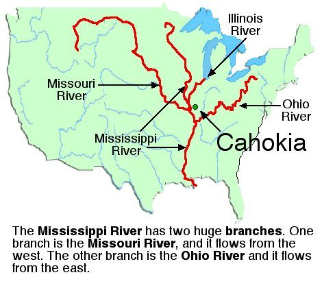 The Mound Builders The Mississippi River Has Two Huge Branches - Mississippi missouri river world map