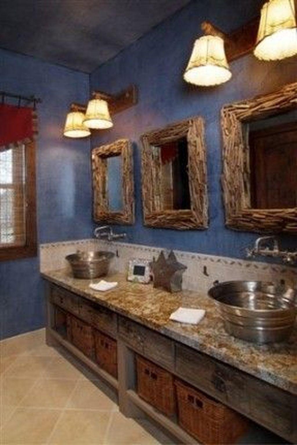 46 Gorgeous Rustic Bathroom Storage Ideas Rustic Cabin Bathroom Western Home Decor Denim Blue Walls