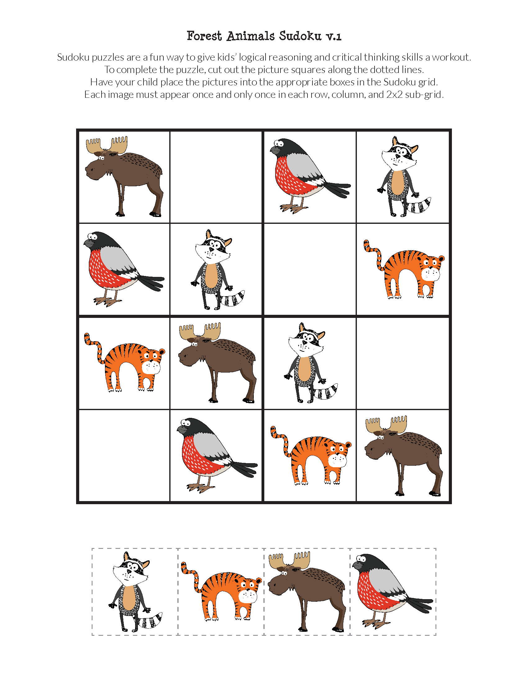 Forest Animals Sudoku Free Printables