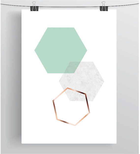 Mint Art, Geometric Print, Hexagon Art, Minimalist