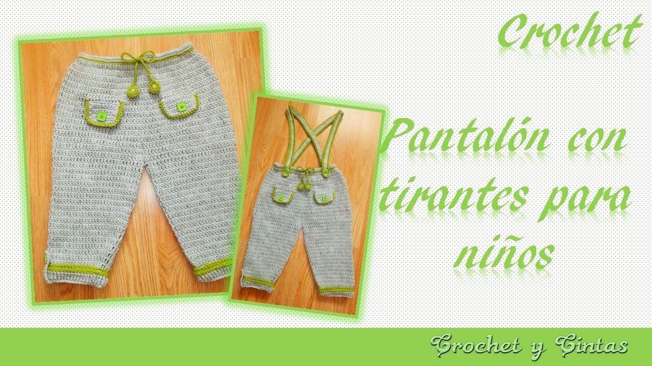 12c2a69eb2 Pantalón con tirantes para niños tejido a crochet (ganchillo) - Parte 1