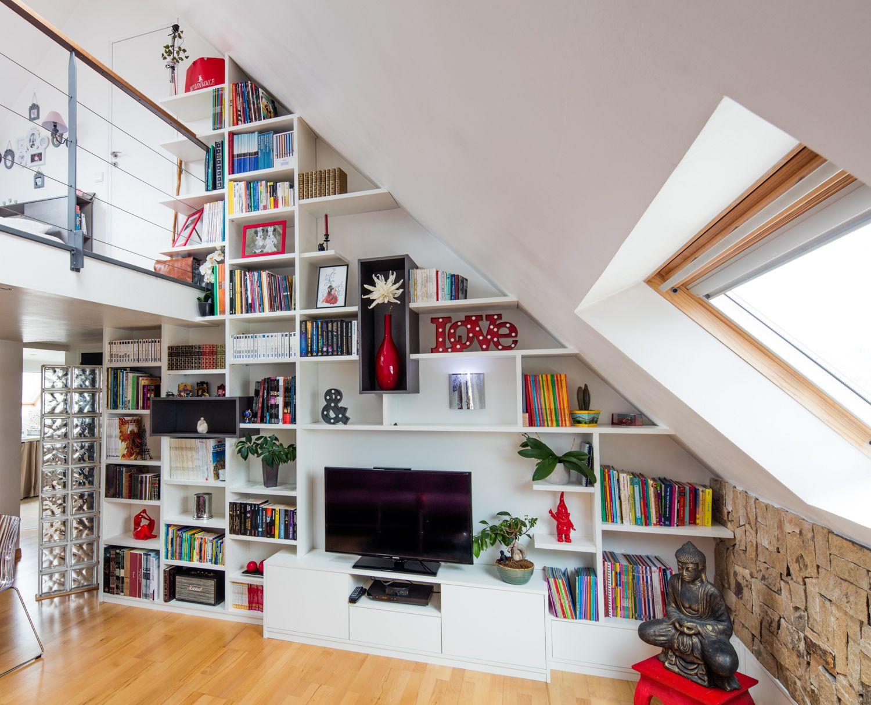 biblioth que sur mesure sous pente en m lamin blanc. Black Bedroom Furniture Sets. Home Design Ideas