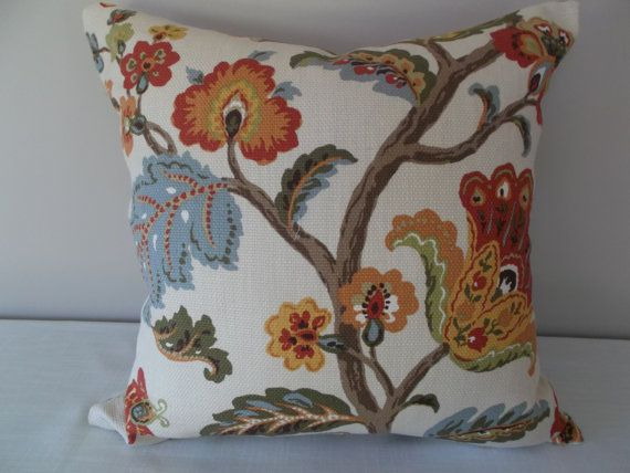 Wedgewood Blue Throw Pillows : This Duralee Red, Orange Jacobean Floral Pillow Cover features Dazzling Red, Orange, Wedgewood ...