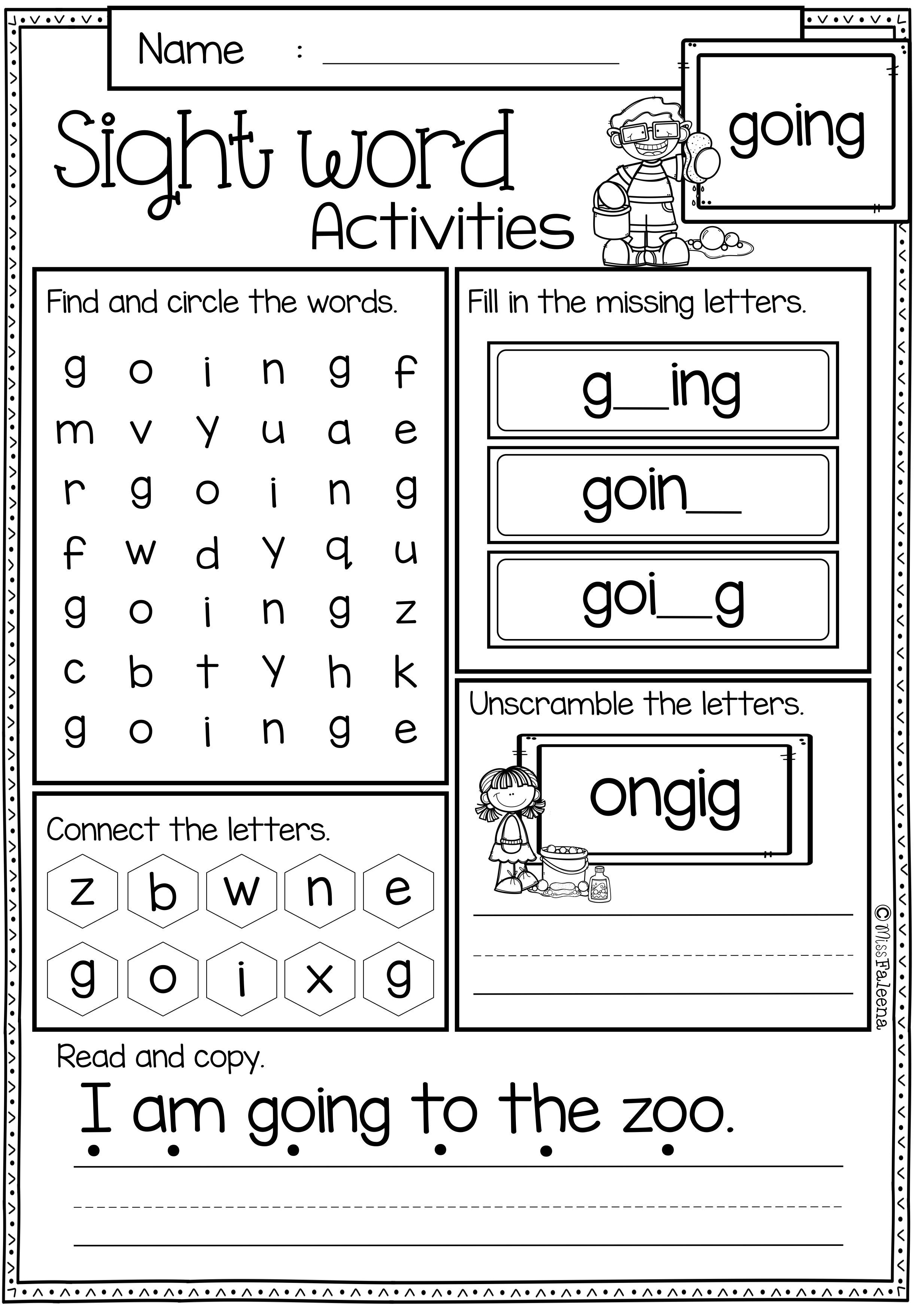 - Sight Word Activities (First Grade) Word Activities, Sight Word