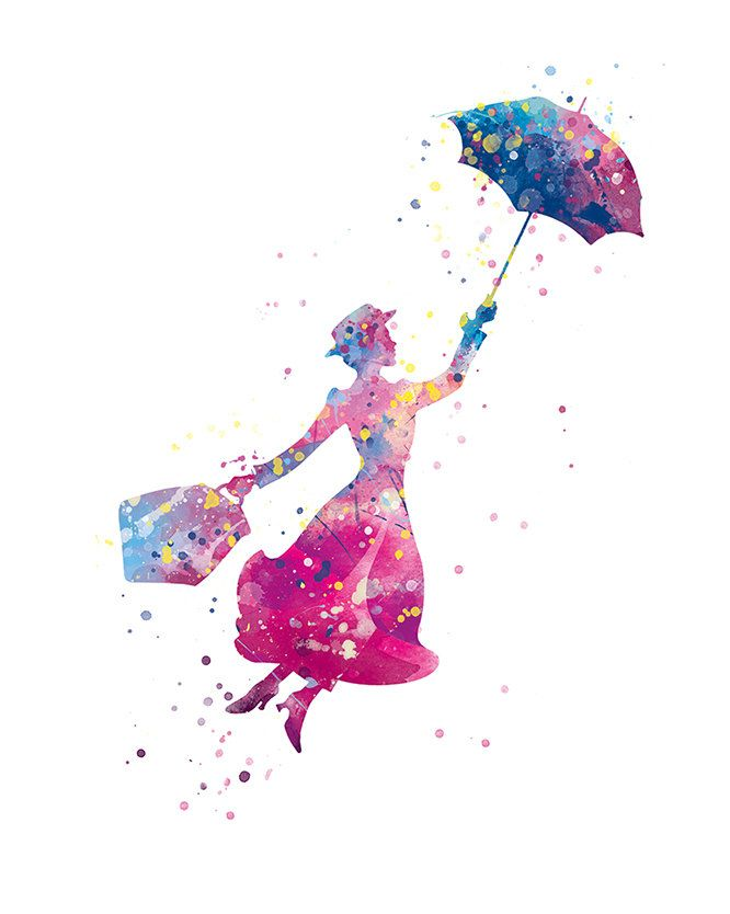 Mary Poppins Print Mary Poppins Watercolor Illustrations Poster