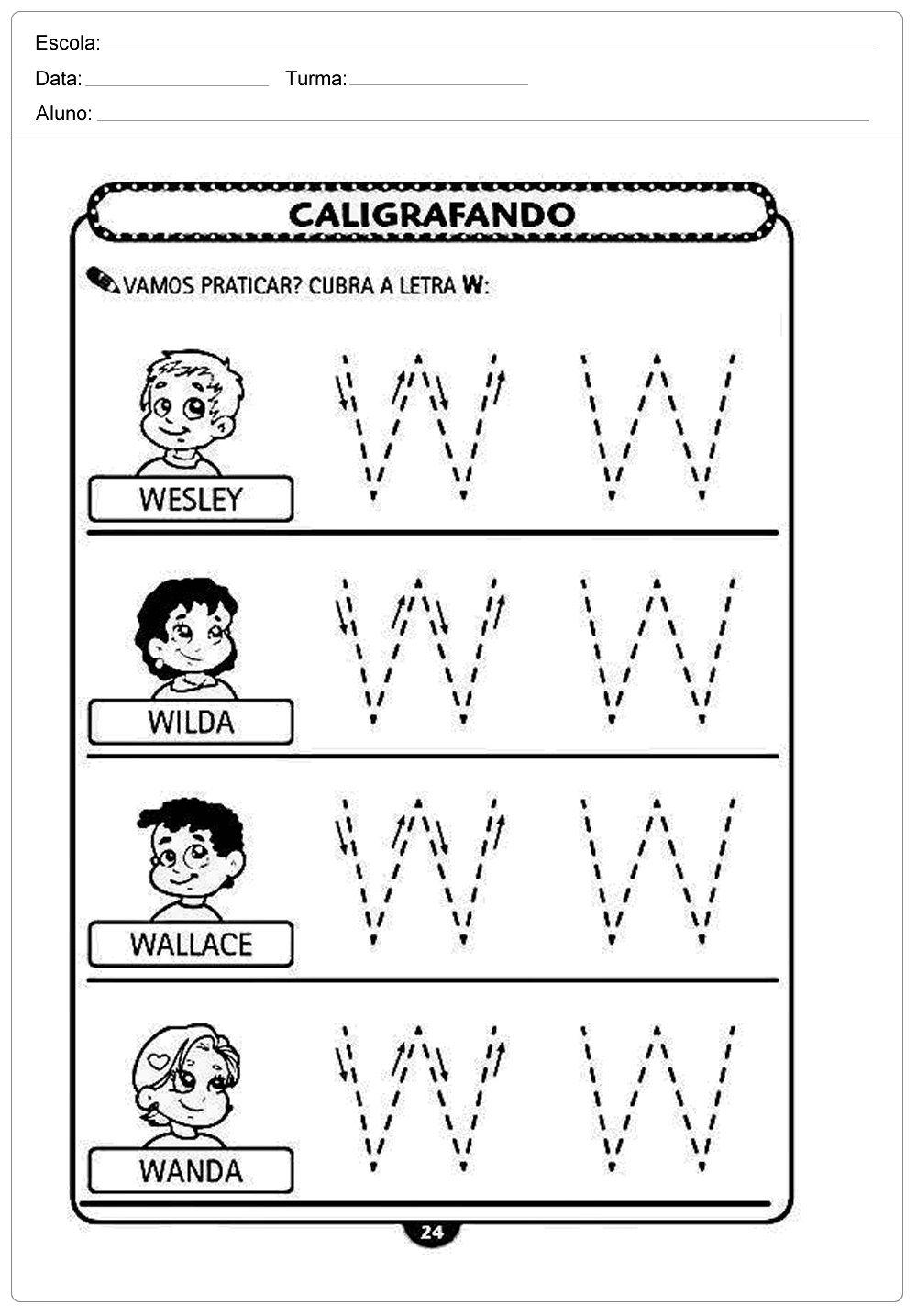 Atividades de caligrafia com a letra W - para imprimir ...