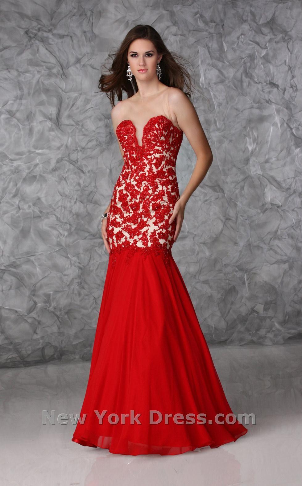 Lavishly embellished splitbodice formal with fluted skirt by