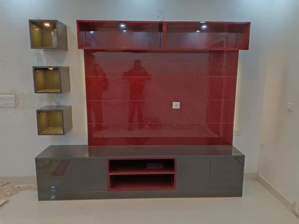 Lcd Panel It S Beautiful Design Red And Cement Colour Combination And Golden Colour 3 Box It S Beautiful Design Tv Wall Design Tv Unit Decor Tv Cabinet Design