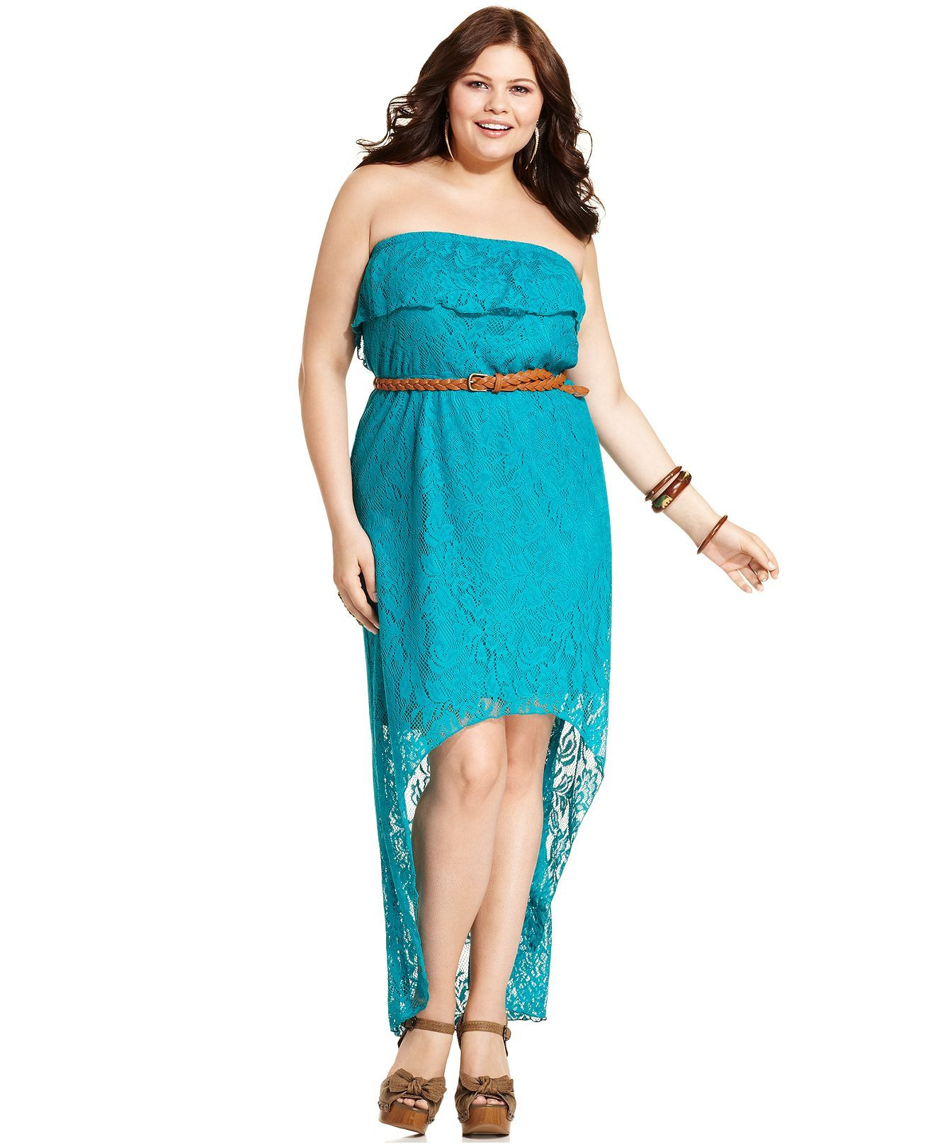 Trixxi Plus Size Dress, Strapless Lace Belted High-Low - Plus Size ...
