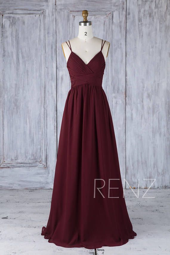 Bridesmaid Dress Burgundy Boho Wedding Dress Backless V Neck Spaghetti Strap Prom Dress Long (H549A) #lacechiffon