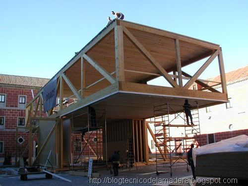 Estructuras de madera google search cantilever structure pinterest madera madera - Estructura madera laminada ...