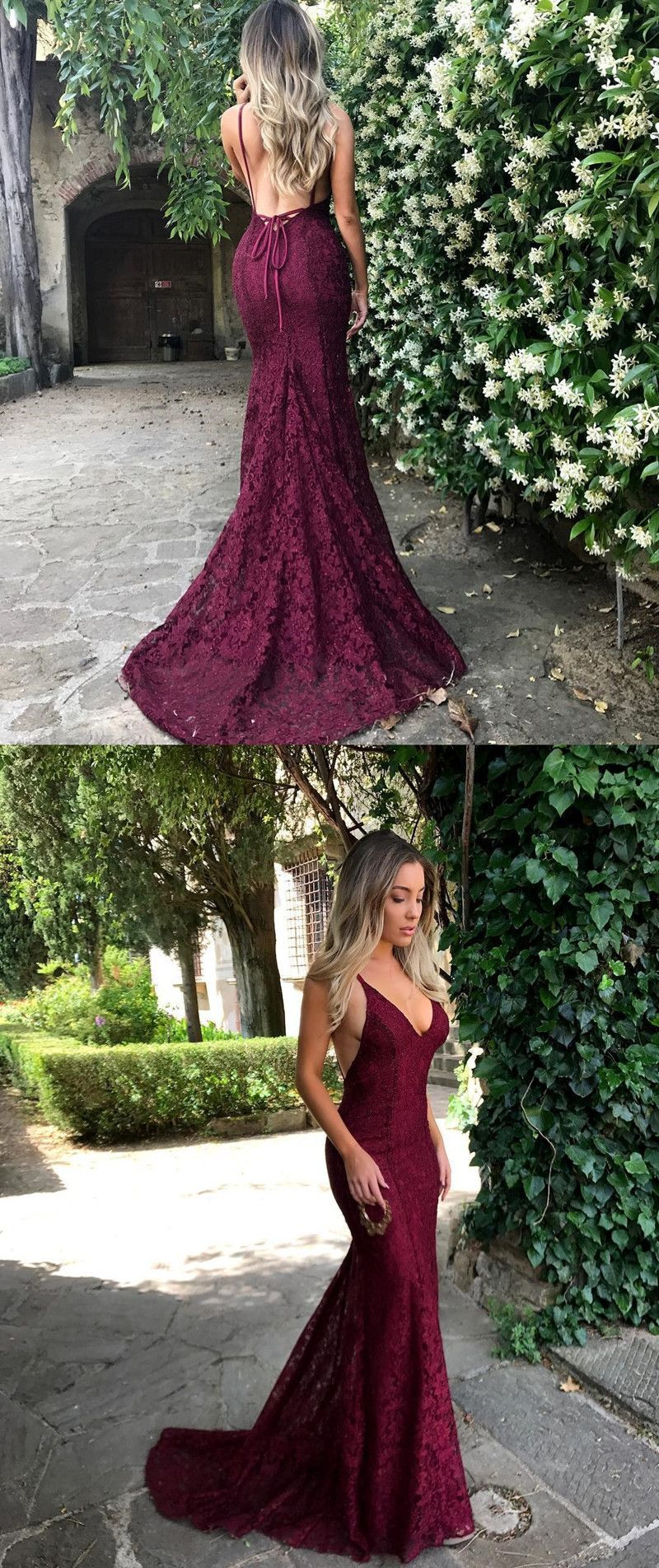 long prom dress graduation dress burgundy lace long prom dress