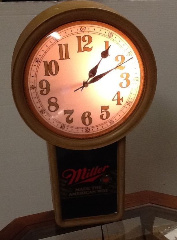 Bathroom Wall Clocks: Miller Beer Made The American Way Light Up Electric Wall