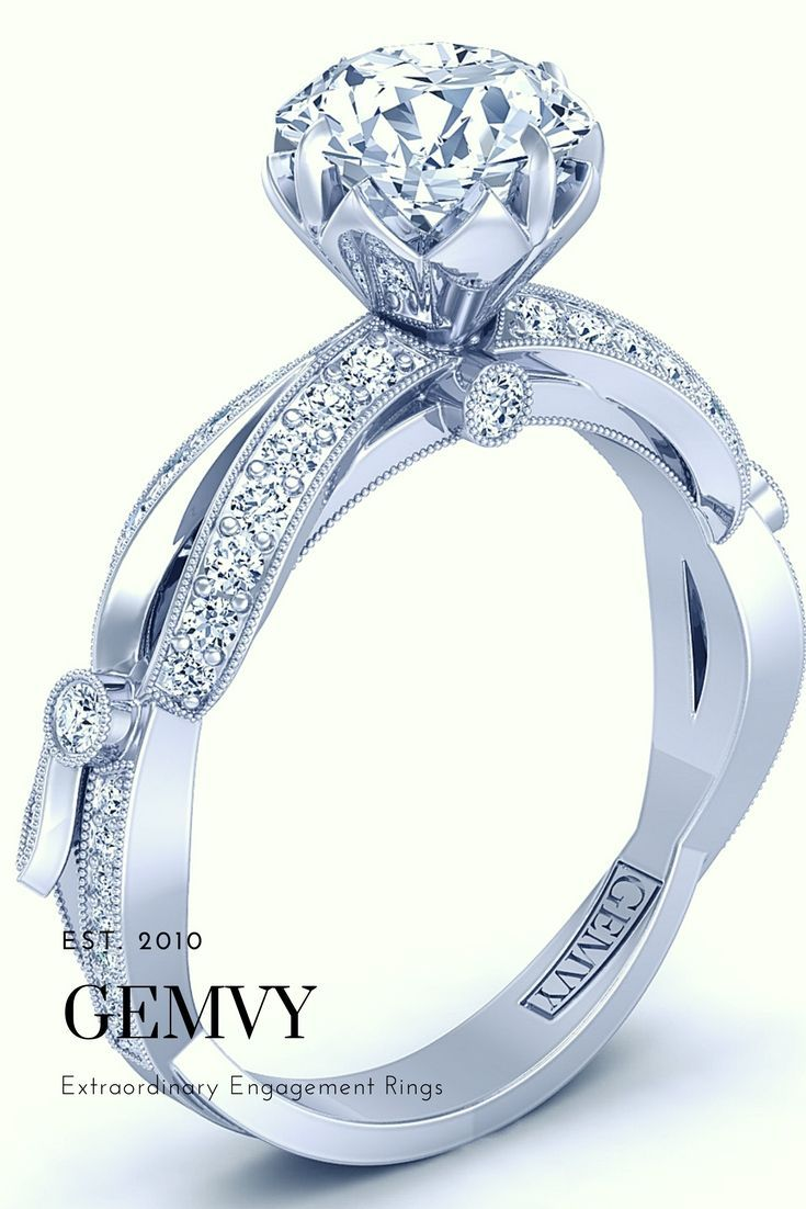 Vintage style pave diamond engagement ring from gemvy