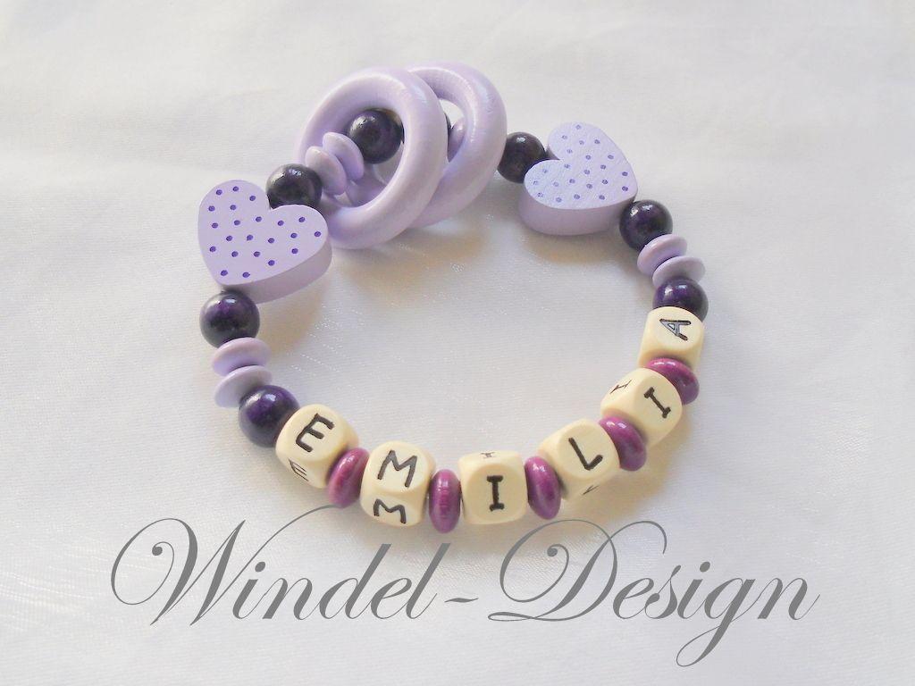 Greifling für Mädchen in lila flieder mit Herzchen