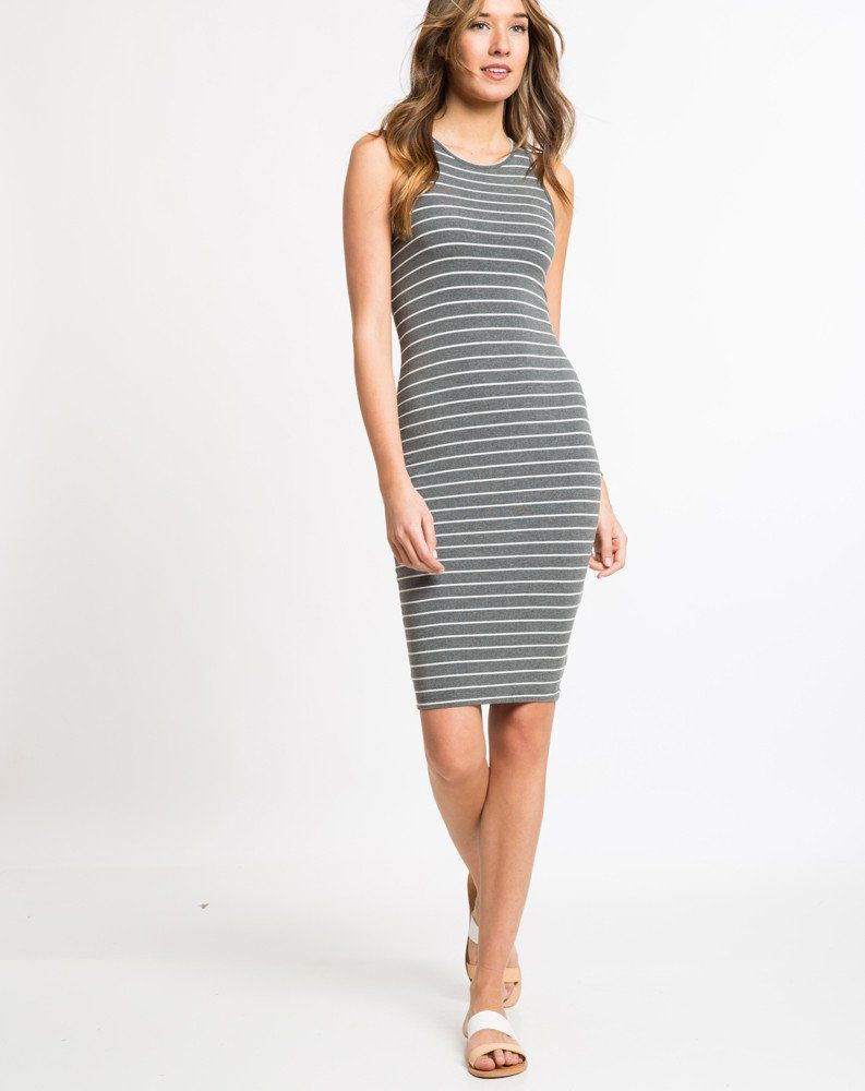 eafe32cd4f9 Lexi Midi Tank Dress - Striped – Marine Layer Grey   white stripe XS