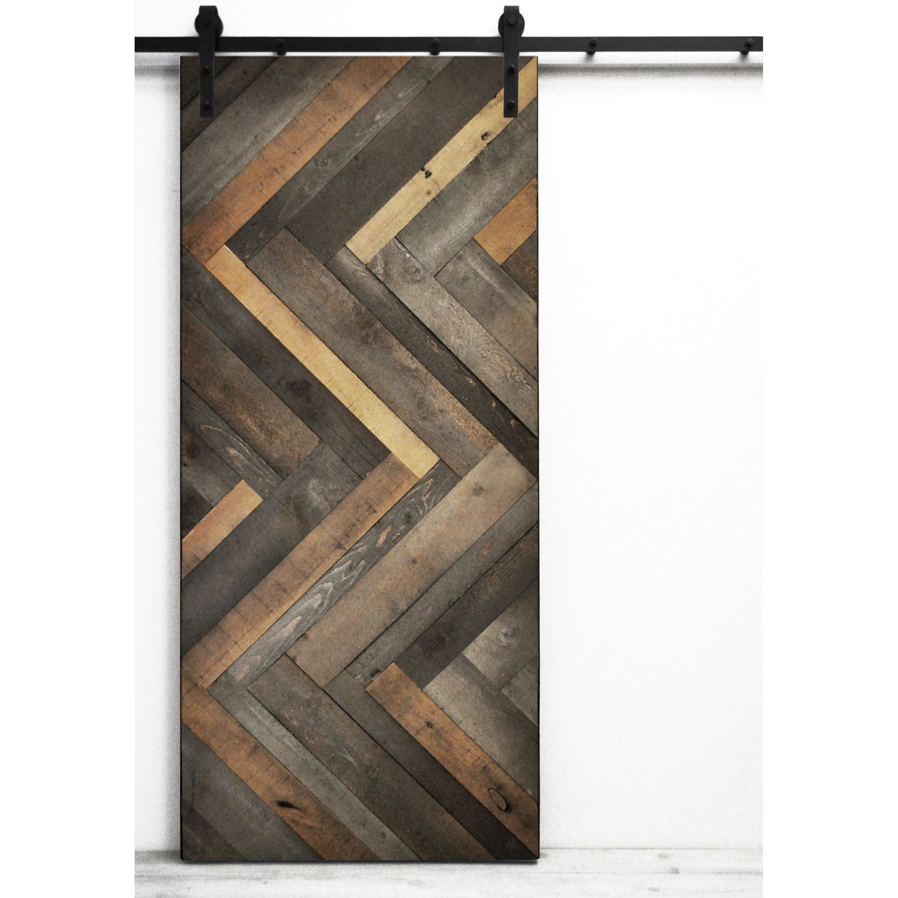 Dogberry Collections Herringbone Wood Lacquer Stained Interior Barn Door