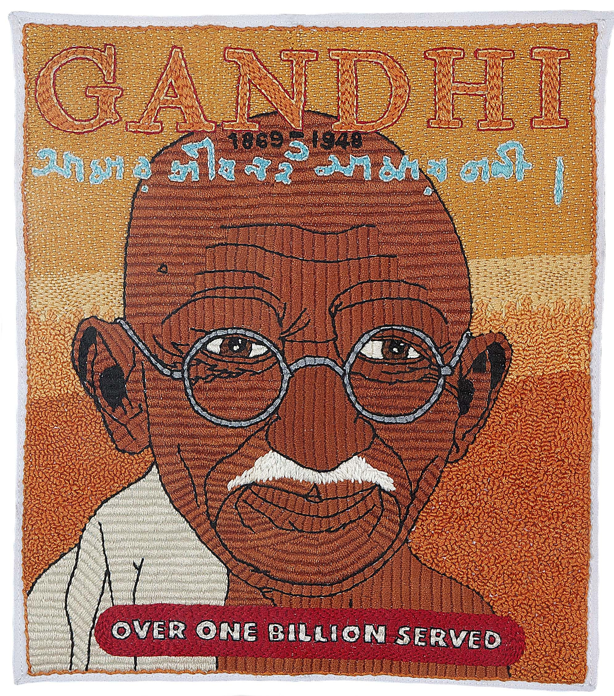 Gandhi/Embroidery/12 Inches x 14 Inches/2002 michaelaaronmcallister.com