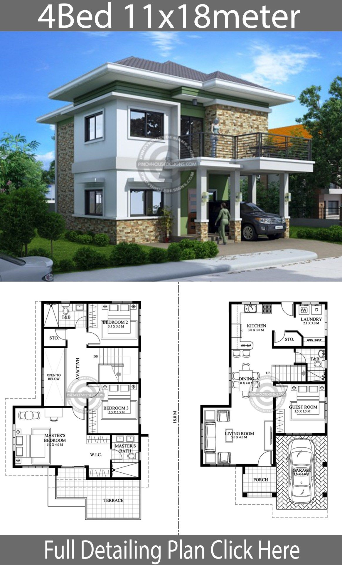 Home Design Plan 111x18m With 4 Bedrooms Home Design With Plansearch Architectural House Plans Architect Design House Model House Plan