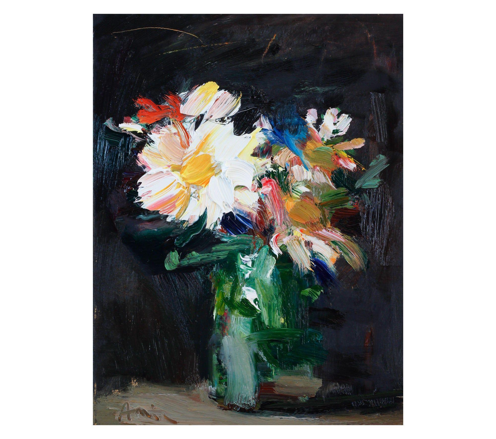 Daisies Flowers Fine Art Print, Watercolor Painting Loose