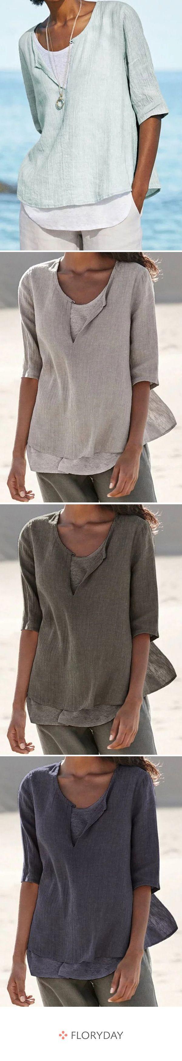 Große Größen Blusen mit halblangen Ärmel und Rundhalsausschnitt