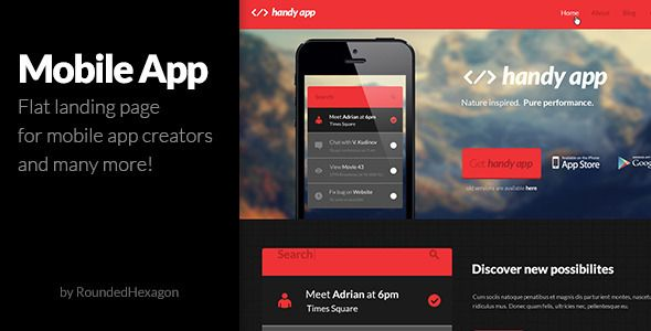 Multipurpose Flat Mobile App PSD Template Psd templates