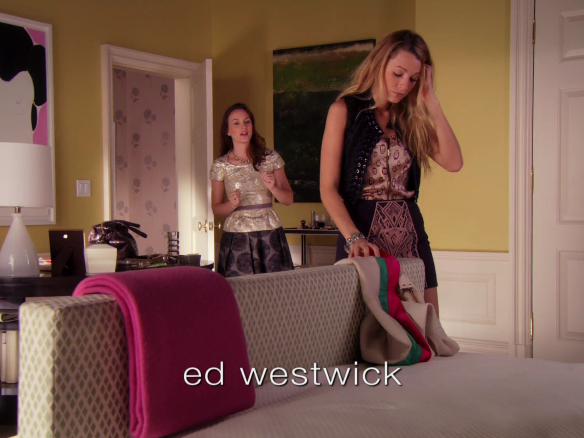 Serena Van Der Woodsen Black Printed Skirt And Top Blair Waldorf Black  Swirl Skirt Metallic Top