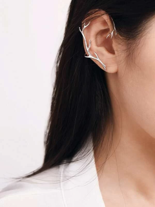 Round leaf design ear cuff silver colour brass more shapes available
