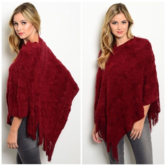 Salee💋💋💄 nwt | Burgundy color, Ponchos and Fall winter