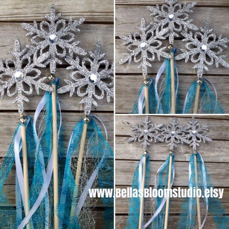Frozen Wands Frozen favors Snowflake wands Elsa Frozen inspired