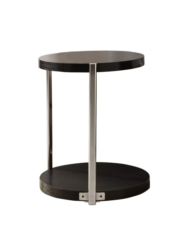 Monarch Specialties Side Table Iv 24 Inch Tall Round With Metal Frame Cuccino Chrome Indoor Furniture Tables End