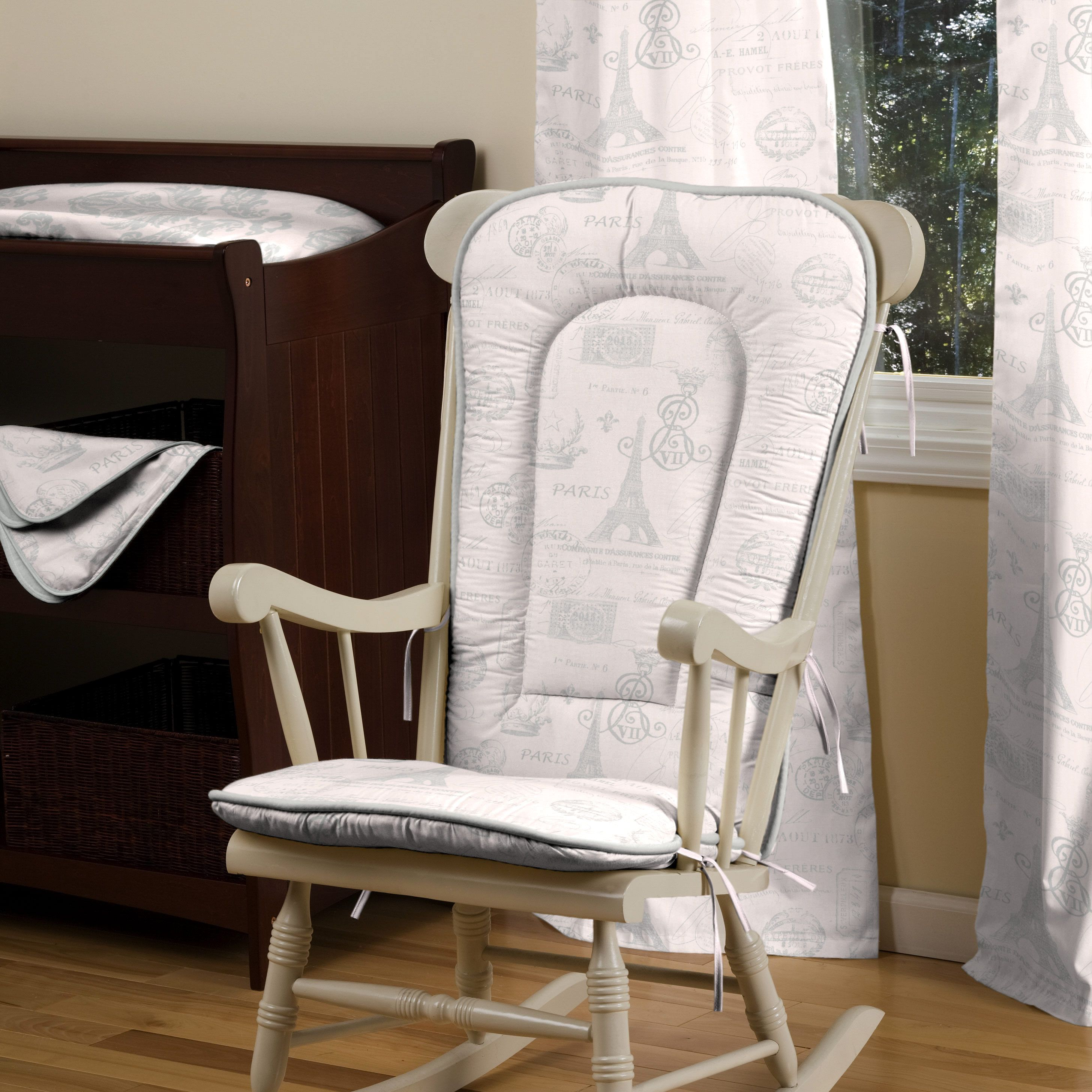 paris script rocking chair pad | rocking chairs, chairs and chair pads