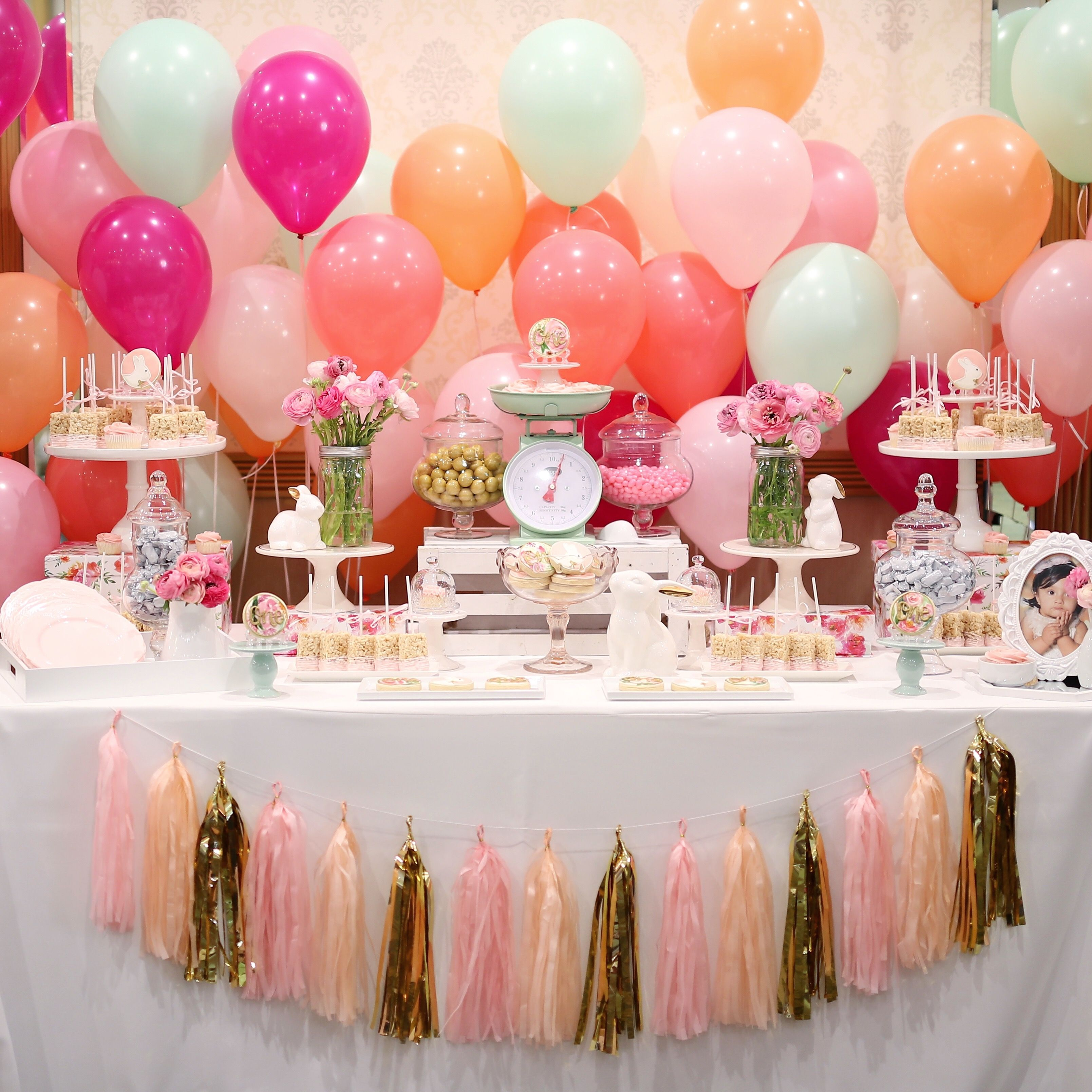 Some Bunny Is Turning One Theme Bunny Dessert Table Bunny Candy Table Bunny Sweets Table Par Bridal Shower Sweets Wedding Bubbles Wedding Aisle Decorations
