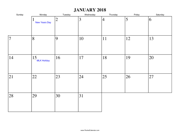 Free Printable Calendar For January  View Online Or Print In