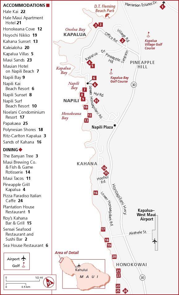Kapalua Napili Maui Hotel Map