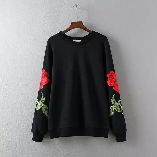 Flower Embroidery Pullovers Sweatshirts Women