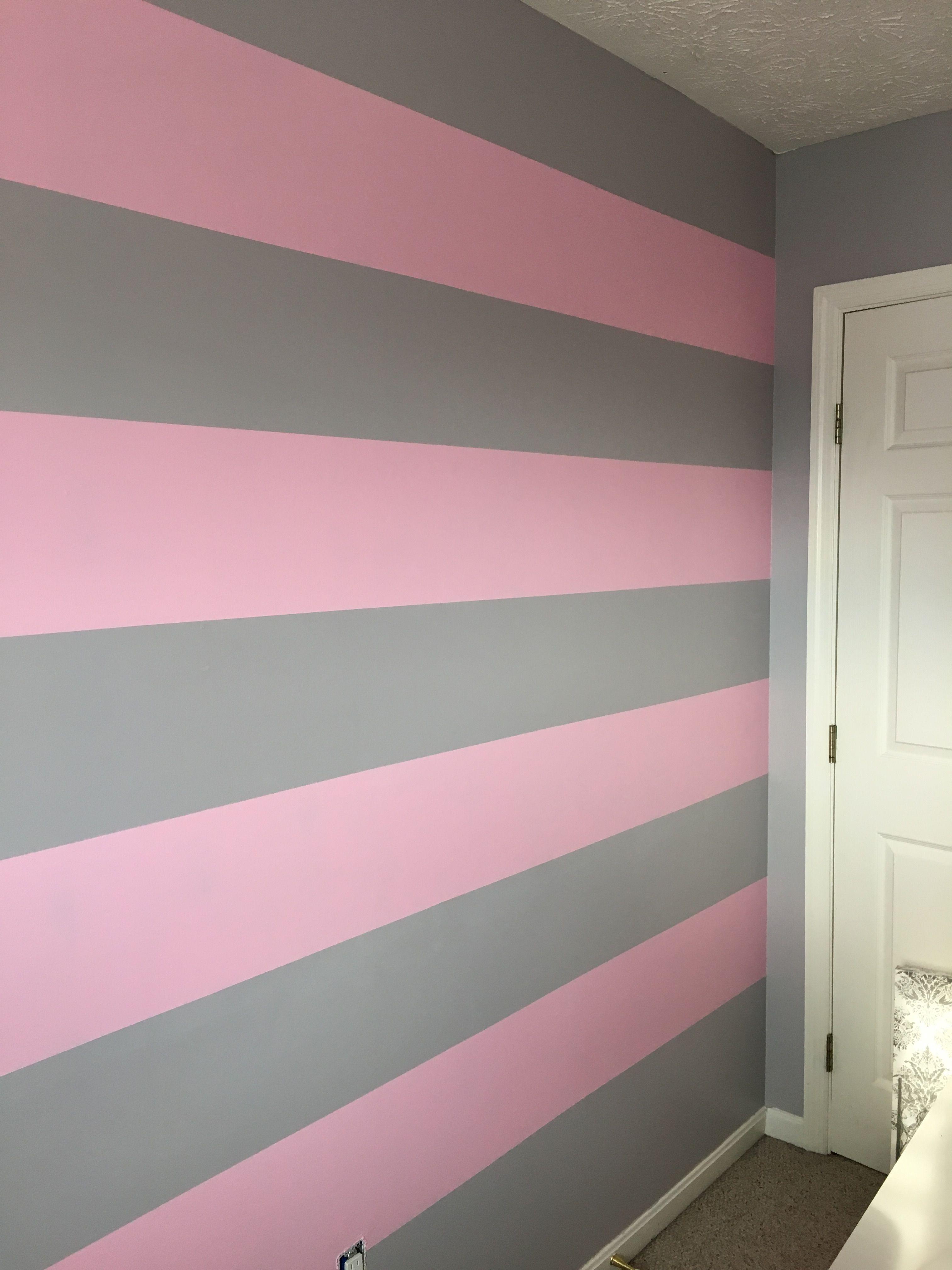 Pink And Gray Striped Wall Decoracao Quarto E Sala Pintura Das