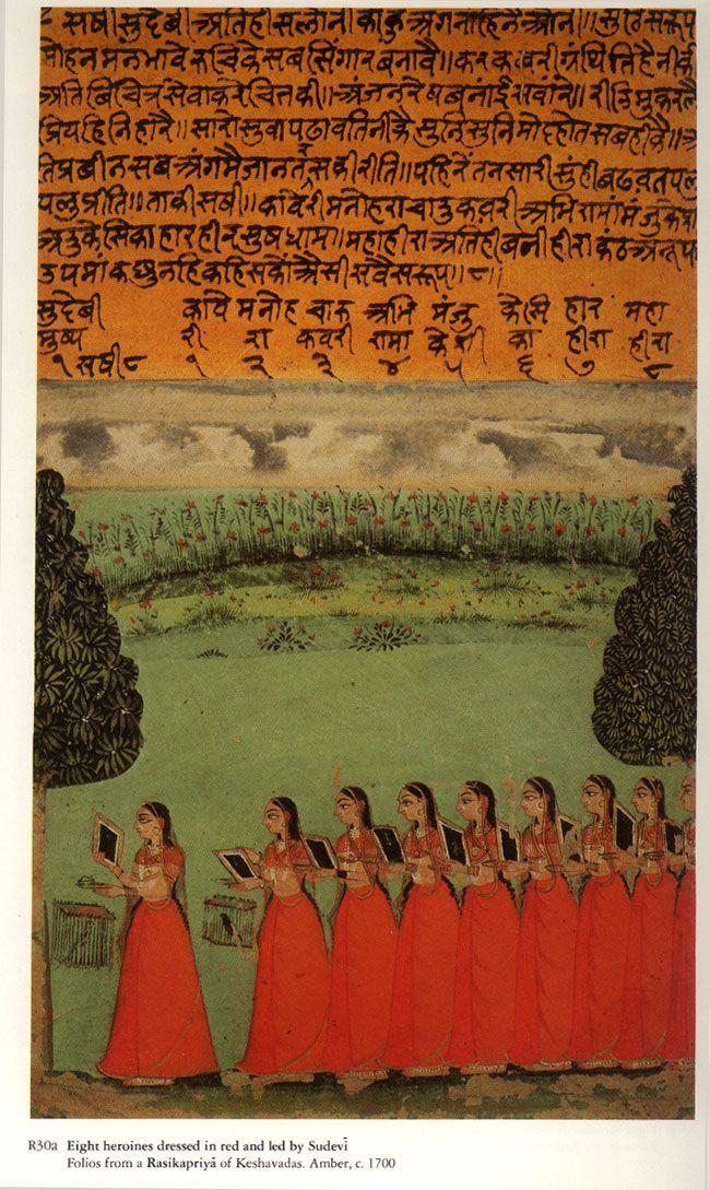 1700. Illustration to the lyrical Rasikapriya. *8 Heroines led by Sudevi. Amber, India
