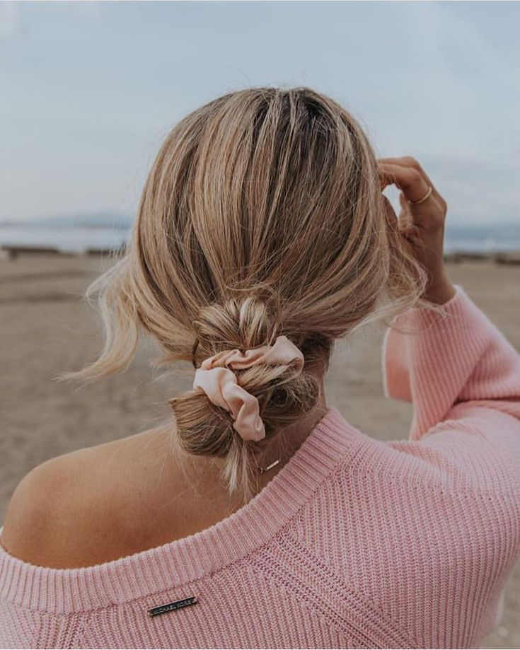 Low Bun Tied with Pink Scrunchie #lowbun #pinkscrunchie #hairideas #hairstyle