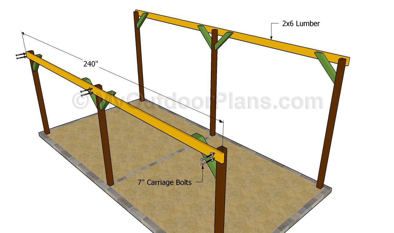 Attaching the support beams | varanda | Pinterest