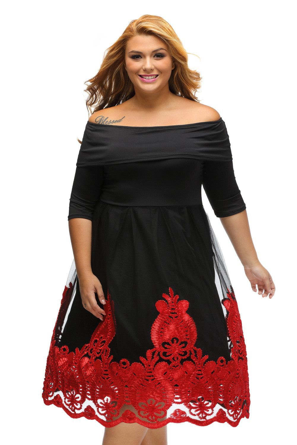 b14f5ddb05f Robes Patineuse Grandes Tailles Curvy Rouge Broderie Dentelle Tulle Jupe Pas  Cher www.modebuy.com  Modebuy  Modebuy  Noir  Jaune  mode  femmes