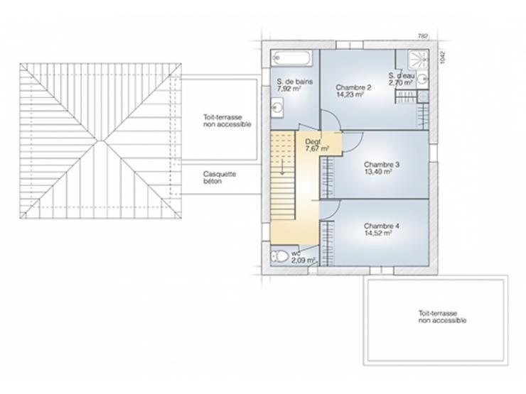 Plans de maison  1er étage du modèle La Villa  maison moderne à