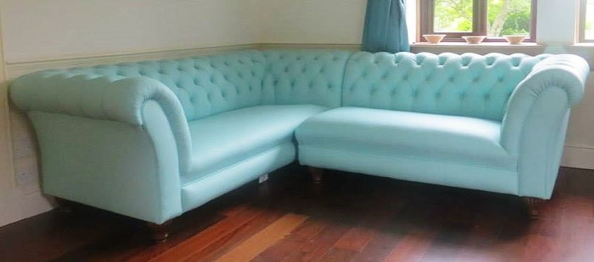 Chesterfield ecksofa  Chesterfield Ecksofa Elizabeth Leder Hellblau | Chesterfield Sofa ...